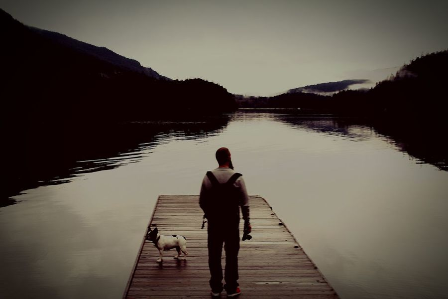 Man and dog British Columbia Reflection In The Water Buntzen Lake Forest Photography Lakeside Lake View Mothernature Man And Dog Lake In The Mountain