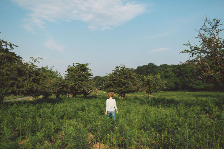 Rear View Of Woman Standing Amidst Plants On Field Against Sky