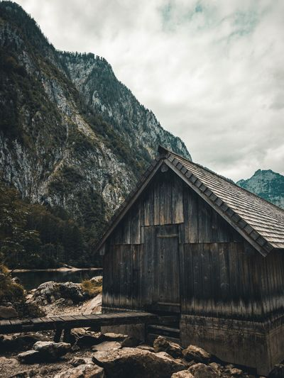 Fischunkelalm Sky Cloud - Sky Architecture Built Structure Building Exterior Nature No People Day Building House Wood - Material Outdoors Tree Old Low Angle View Land Roof Mountain