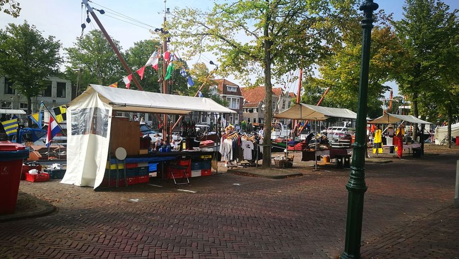 View of market stall in city