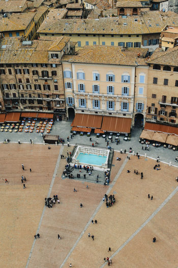High angle view of people at piazza del campo
