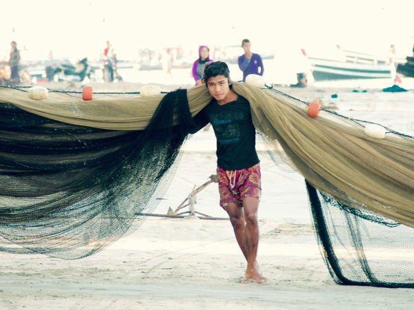 Burma Fishing Fishing Net Fishing Village Myanmar Ngapali