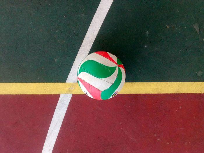High angle view of ball on court
