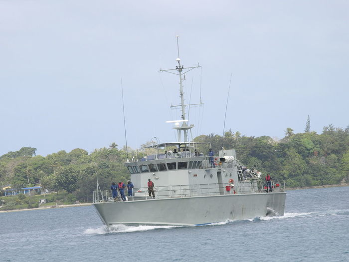 RVS MALA Police Maritime Wing Port Vila, Vanuatu. Clear Sky Day Footpath Outdoors Patrol Launch Person Police Maritime Wing Port Vila Vanuatu RVS MALA Scenics Tourism Tranquil Scene Tranquility Tree Vacations Water Weekend Activities
