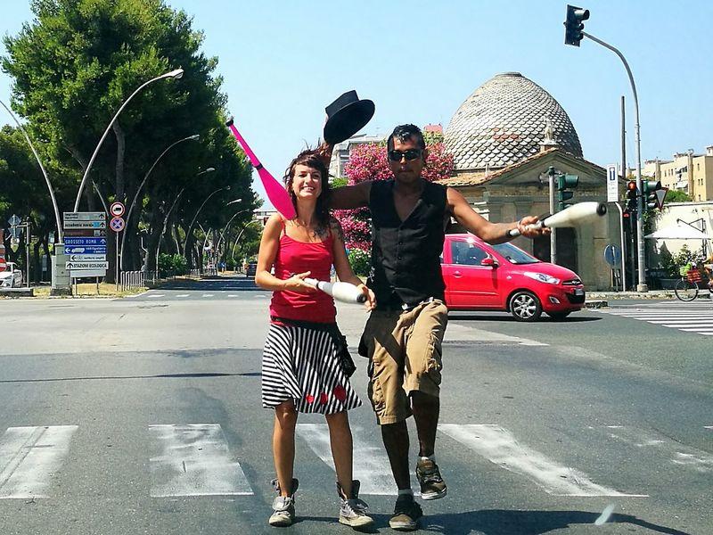 Crossroads Traffic Lights City Street Juggling Jugglers at the crossroad