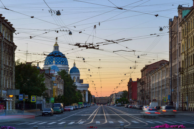 Troitsky prospekt at dawn, Saint Petersburg, Russia Architecture Building Exterior Built Structure Cable Car City Clear Sky Dawn Day Electricity Pylon Land Vehicle Mode Of Transport No People Outdoors Road Russia Saint Petersburg Saint Petersburg, Russia Sky Street The Way Forward Transportation Travel Destinations Troitsky Prospekt The Architect - 2017 EyeEm Awards EyeEm Selects The Week On EyeEm Colour Your Horizn