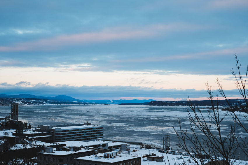 St-Lawrence River in winter Taken from Dufferin terrace in Quebec city Fujifilm FUJIFILM X-T1 Ice Landscape Mountains Mountains And Sky Olney Quebec City River Sky St-lawrence River St-Lawrence Seaway Winter