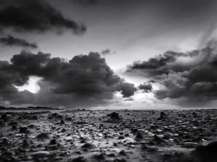 Moody beach Moody Sky Blackandwhite Photography Blackandwhite Landscape_Collection Landscape Cloud - Sky Sky Sea Water Scenics - Nature Beauty In Nature Tranquil Scene Beach No People Nature Tranquility