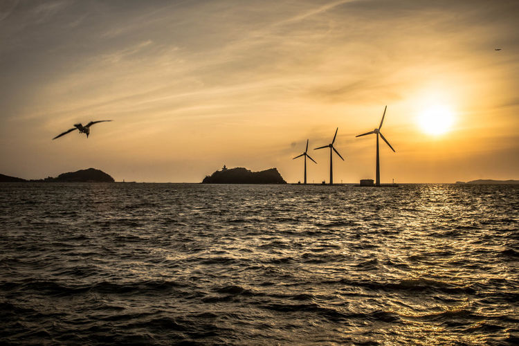 Silhouette of wind turbines in sea against sunset sky