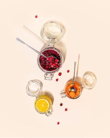 High angle view of glass jar on table