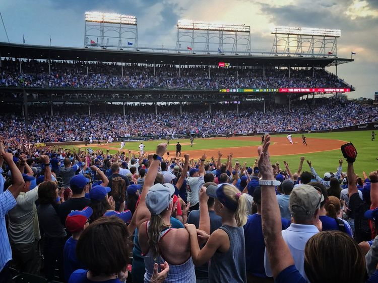 Cubs take a 7-6 lead over Arizona in the bottom of the 7th. Chicago Cubs Baseball Fans Wrigley Field