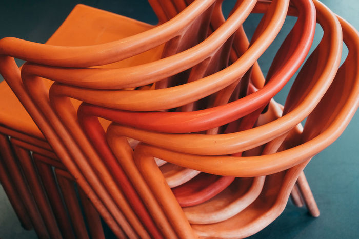 High angle view of stacked chairs