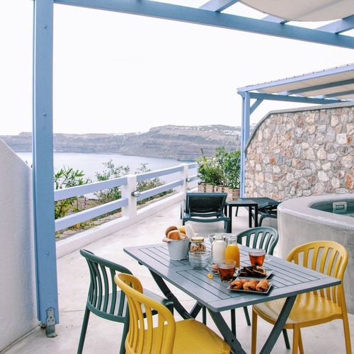 Here's more of My Favorite Breakfast Moment in Akrotiri Santorini, Greece Breakfast with a view 💕 The Great Outdoors