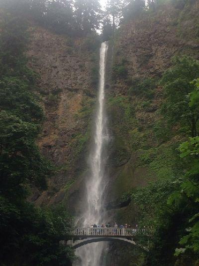 Multnomah Falls  Beautiful Waterfall Oregon Columbia River Gorge Rock Formation Bridge People On Bridge