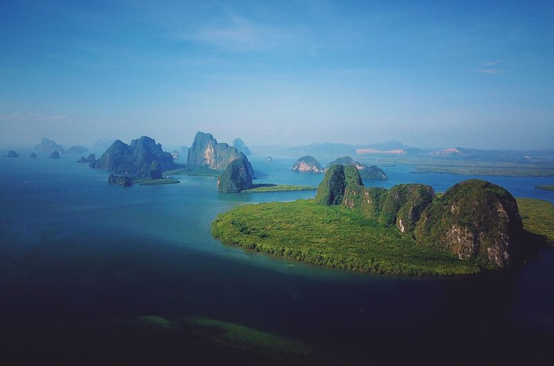 Panyee Island Thailand Sky Water Sea Scenics - Nature Beauty In Nature Nature Tranquil Scene Clear Sky Travel Mountain Transportation Outdoors Blue Plant No People Land Tranquility Day Idyllic