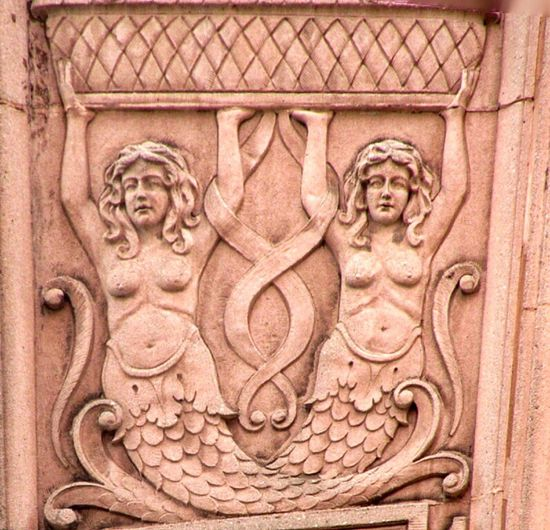 Architectural Decor on a Building in Portland, Oregon City Portland Oregon Building Exterior Artt Mermaid Art And Craft Craft Representation Carving - Craft Product Creativity Built Structure Sculpture Human Representation