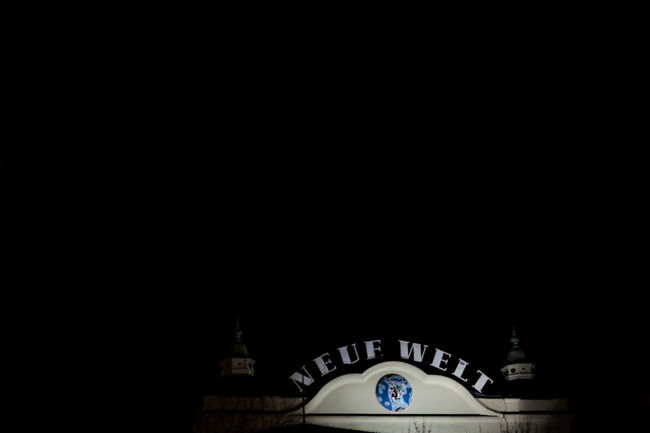 Berlin Black Copy Space Entrance Exterior Façade German Language Huxleys Negative Space Neue Welt NEW WORLD  Signage Symbol Typography