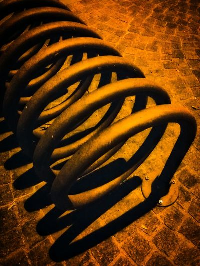 Pordenone Italy Night Photography Night Lights Night Shades Shadows Bicycle Racks Winded Tubes Helixes Pattern Pieces Mobile Photography Art Fineart Mobile Editing