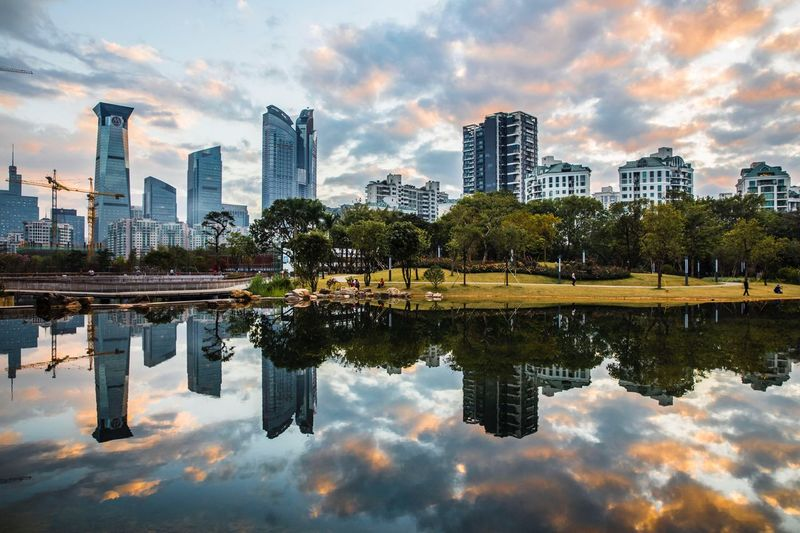 Day Xiangmi Park EyeEm Selects Architecture Skyscraper Reflection Building Exterior City Cloud - Sky