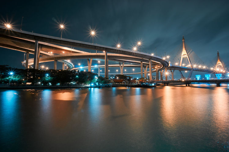 Low Angle View Of Illuminated Bridges By Lake Against Sky At Night