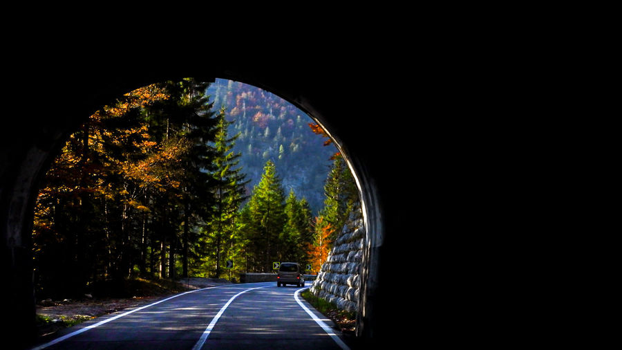 View of road through tunnel