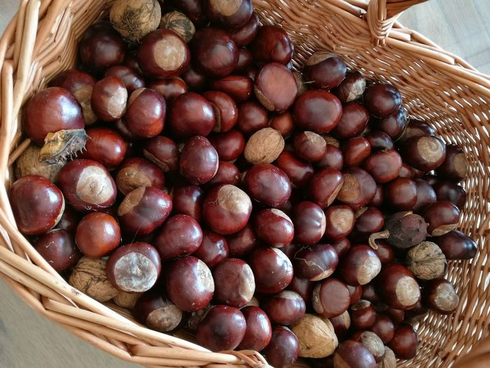 Close-up of chestnuts in basket