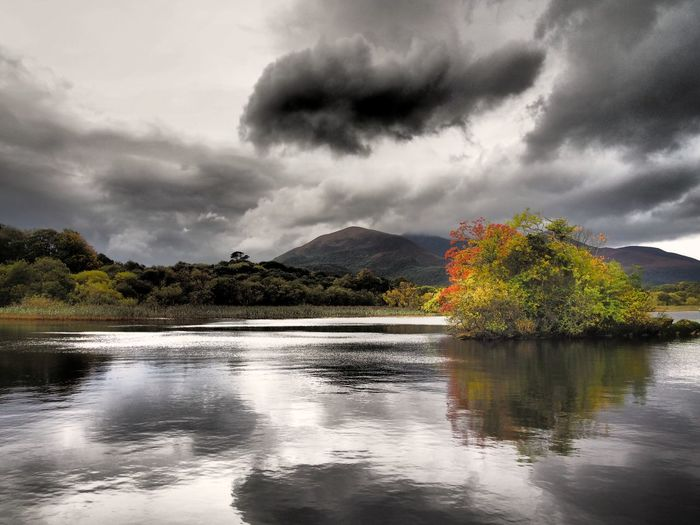 Lough Leane @ Ross Castle Killarney  Ireland Reflection Lake Lake View Lough Leane Lough EyeEm Nature Lover Tranquility Autumn Colours Autumn Sky Travel Destinations OutdoorsBeauty In Nature Dramatic Sky Scenics Lake Landscapes Landscape Miles Away