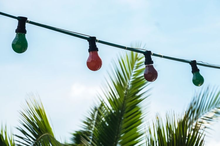 Low angle view of lighting equipment by palm tree against sky