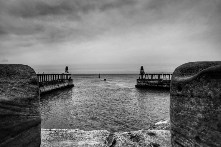 Whitby Whitby Whitby Abbey Water Sky Sea Cloud - Sky Scenics - Nature Nature Horizon Beauty In Nature Tranquility Day Pier Horizon Over Water Tranquil Scene Architecture Built Structure Outdoors Rock Land Rock - Object No People Groyne