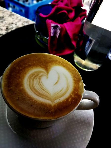 Froth Art Cappuccino Frothy Drink Flower Drink Latte Table Coffee - Drink Coffee Cup Close-up