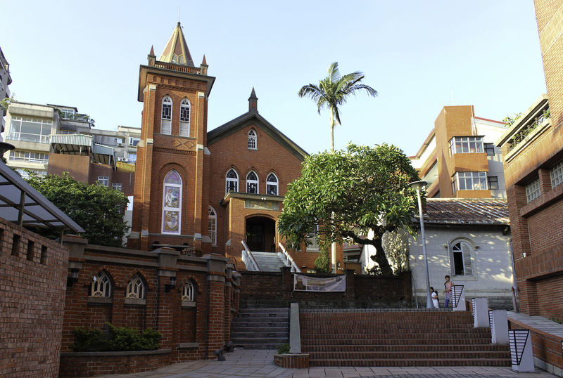 Church at Tumsui station Architecture Building Exterior City Clear Sky Clock Danshui Danshui Town Day No People Outdoors Palm Tree Place Of Worship Portland Sky Taipei Taiwan Tower Travel Destinations Tree Tumsui