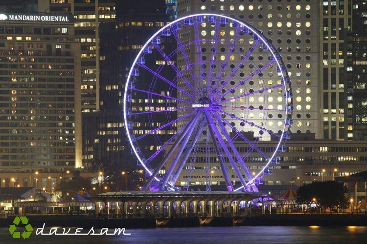Ferris wheel at Central Pier. Hong Kong Observation Wheel Hk Nites Nights Of Hong Kong