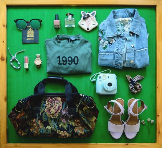 1990 High Angle View Table Close-up Packed Up Essentials Summer Travel Traveling Vacation Packing Up Traveler Going Places Packing Denim Sunglasses Denim Jacket Passport Spring Flowers Suitcasetravels Camera Shoes Polaroid Watch Essentials Travel Flat EyeEm Selects Let's Go. Together.