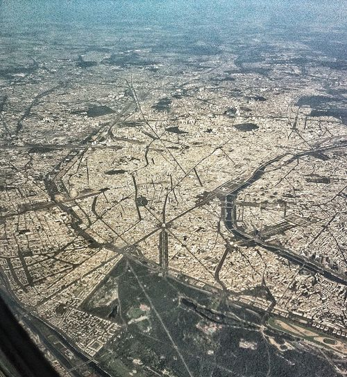 Paris, Champs Elysées, Arc de Triomphe in the middle, Tour Eiffel at the right Paris From An Airplane Window Hello World Taking Photos