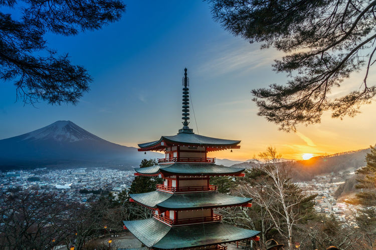 Sky Tree Plant Architecture Belief Religion Built Structure Nature Spirituality Building Building Exterior No People Place Of Worship Travel Destinations Scenics - Nature Mountain Sunset Beauty In Nature Outdoors Spire