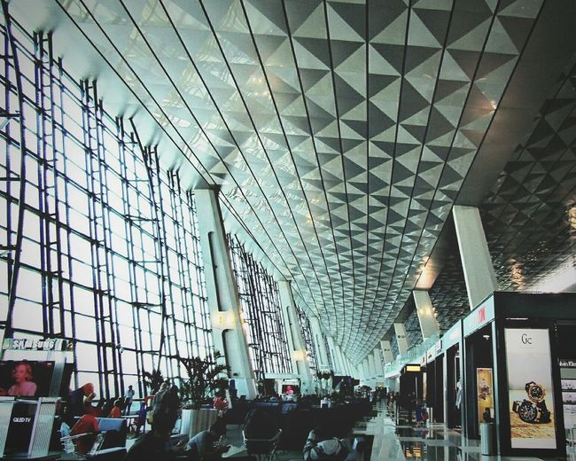 Jakarta Airport Architecture Indoors  Built Structure Modern Large Group Of People People Crowd Airport