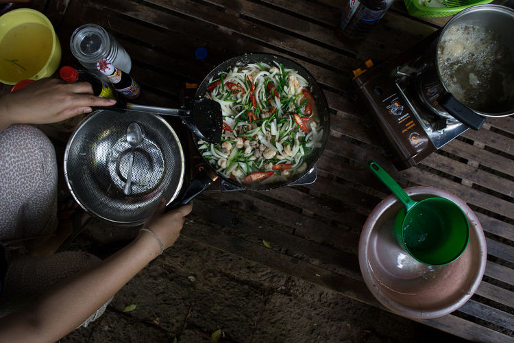 High angle view of person having food