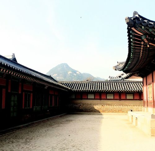 Cultures Travel Destinations Korean Culture Korean Traditional Architecture Korean Loyalpalace Day Outdoors Sky Architecture Red Mountain