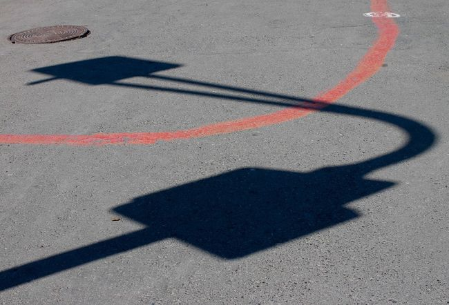 Streetphotography Red Urban Detail Shadow Sunlight High Angle View Focus On Shadow Asphalt Road Marking