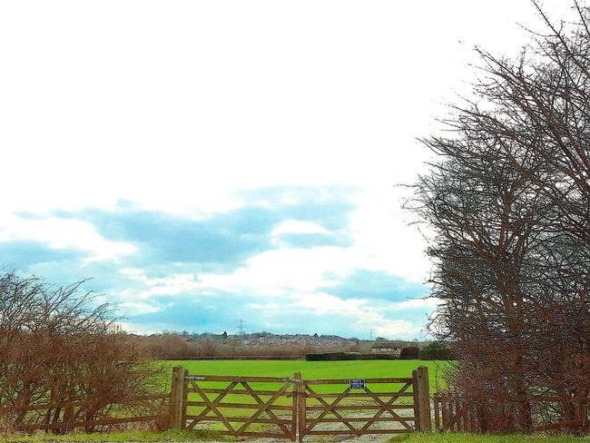 Shut the gate Gate Sky Security Protection Safety Day Cloud - Sky Outdoors Grass Field Beauty In Nature No People Tree