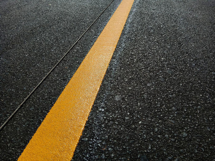 Close-up of road marking line
