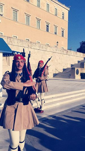 Evzones Presidential Guard Greek Presidential Guards Evzones Evzoni Evzones Shoe Athens Greek Parliament Army Summer City Full Length Architecture Building Exterior Built Structure The Street Photographer - 2018 EyeEm Awards