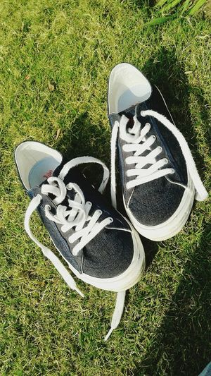 Shoes Sneekers Roadster Grass High Angle View No People Communication Day Outdoors
