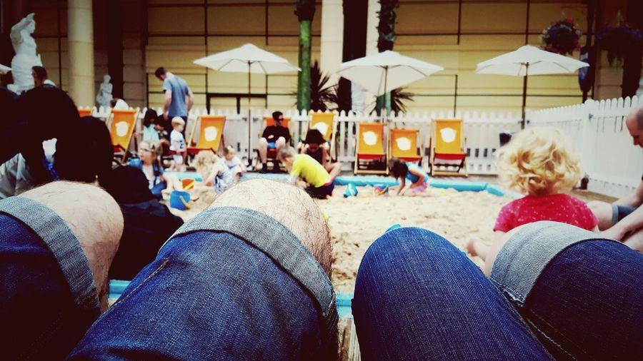 Thinks100 day 61. Outside Sand Beach Urban Beach Knees Hairy Knees Playing Rain Or Shine British Summertime