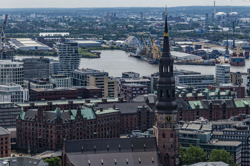 Hamburg view Branch Building Exterior Church Tower City Cityscape Clock Copper  Cranes Day Elbe River Hafencity Hamburg Hamburg Harbour High Angel View Modern Architecture No People Old Buildings Outdoor Roofs And Towers Speicherstadt Hamburg St. Katharinen Kirche