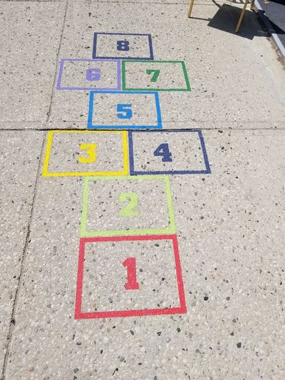 High angle view of hopscotch on street