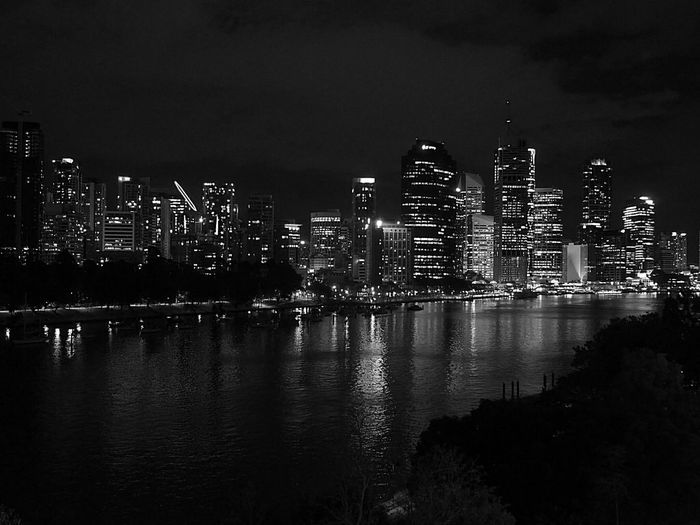 Brisbane city lights Australia Night Reflection Cityscape City Urban Skyline Skyscraper Sky Outdoors Water Architecture Business Finance And Industry Building Exterior Illuminated No People Sea