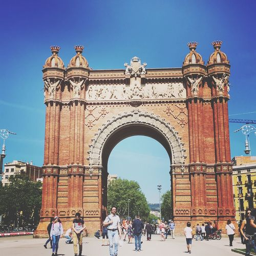 Spain ✈️🇪🇸 Barcelona Architecture Sky Arch Crowd Clear Sky Real People Large Group Of People