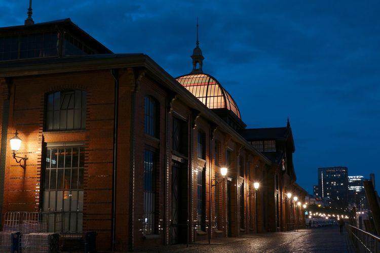 Fish Auction Hall, Hamburg Hamburg Architecture Building Building Exterior Built Structure City Illuminated Light Night Street Light Travel Destinations