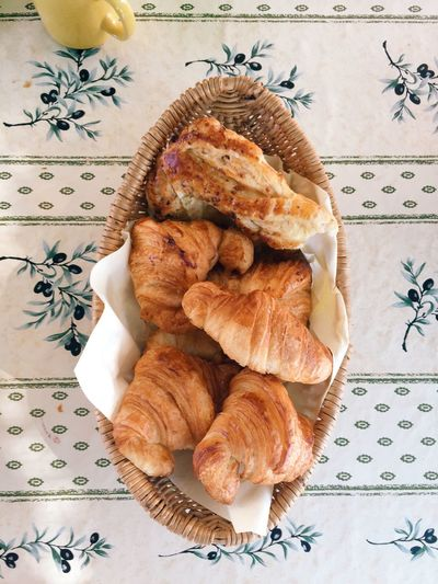 Basket of fresh croissants in France. Bread Breakfast Close-up Croissant Day Directly Above Food Food And Drink French French Food Freshness High Angle View Indoors  No People Plate Ready-to-eat Serving Size Table Tablecloth